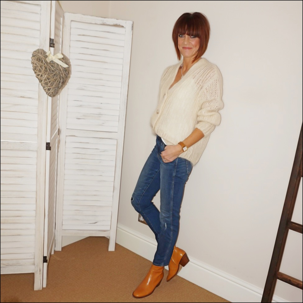 my midlife fashion, and other stories oversized v neck cardigan, llloves necklace, mango flowy camisole, j crew vintage rip and repair jeans, isabel marant etoile tan block heel ankle boots