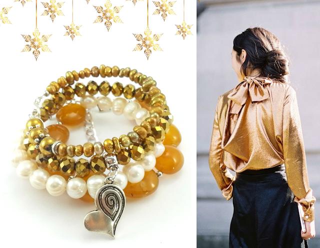 Zestaw bransoletek kamienie- miodowy agat, perły słodkowodne, kryształki i zawieszki charms- ecobizuteria.pl