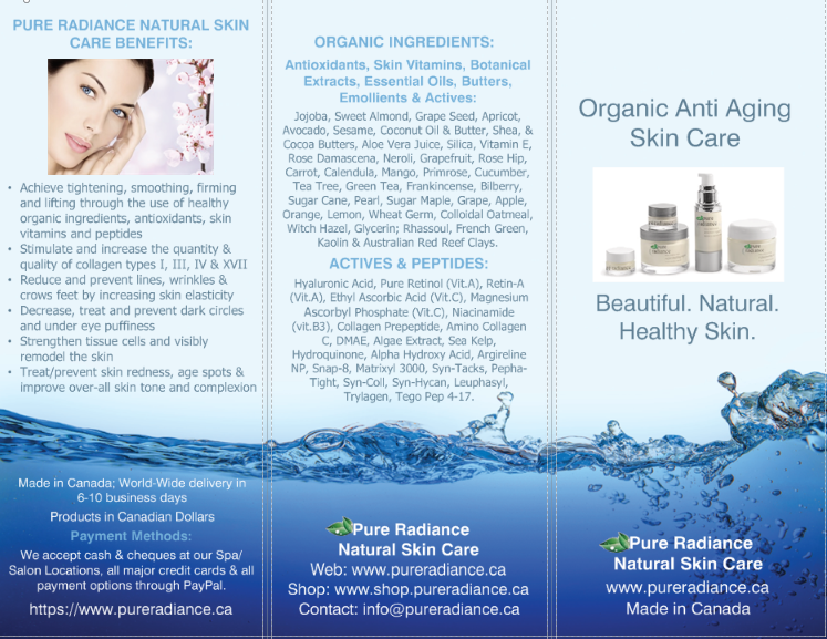 Pure Radiance Natural Skin Care Brochure
