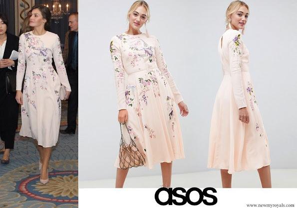 Queen Letizia wore a floral midi dress by Asos Design
