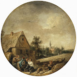 Landscape with a Rural Tavern by David Teniers II - Landscape Paintings from Hermitage Museum