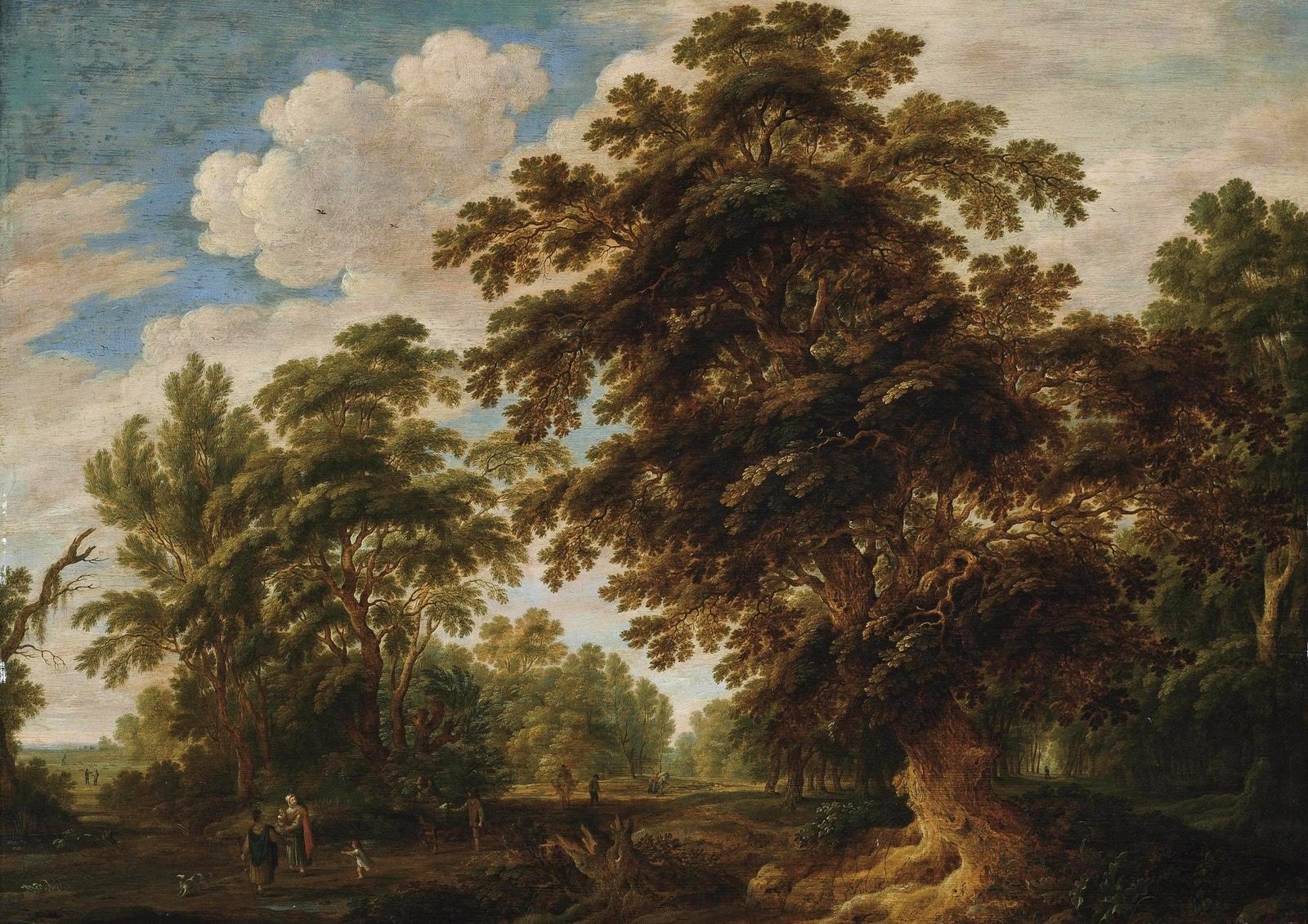 Обои картина, Лесной Пейзаж с Оленьей Охотой, Ян Брейгель старший. Разное foto 12