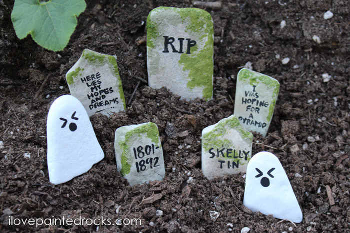 Painted Headstones and ghost rocks for a fairy garden or Halloween decoration