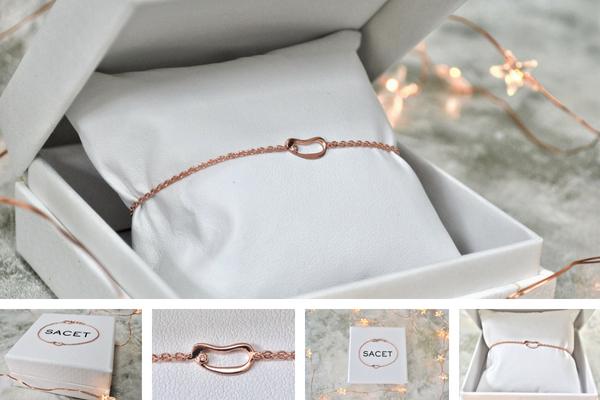Sacet rose gold marque hoop bracelet