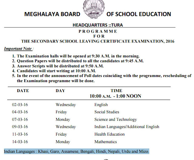 Meghalaya SSLC Examination Time Table 2016
