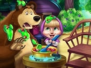 Play the best free online girl games, enjoy Masha and Bear Kitchen Mischief on GamesGirlGames.com. Bear is trying to make a delicious jam out of the harvest he collected, but Masha has other plans and wants to experiment with other ingredients. Help the mischievous little girl ruin the jam without being caught by Bear and Panda!