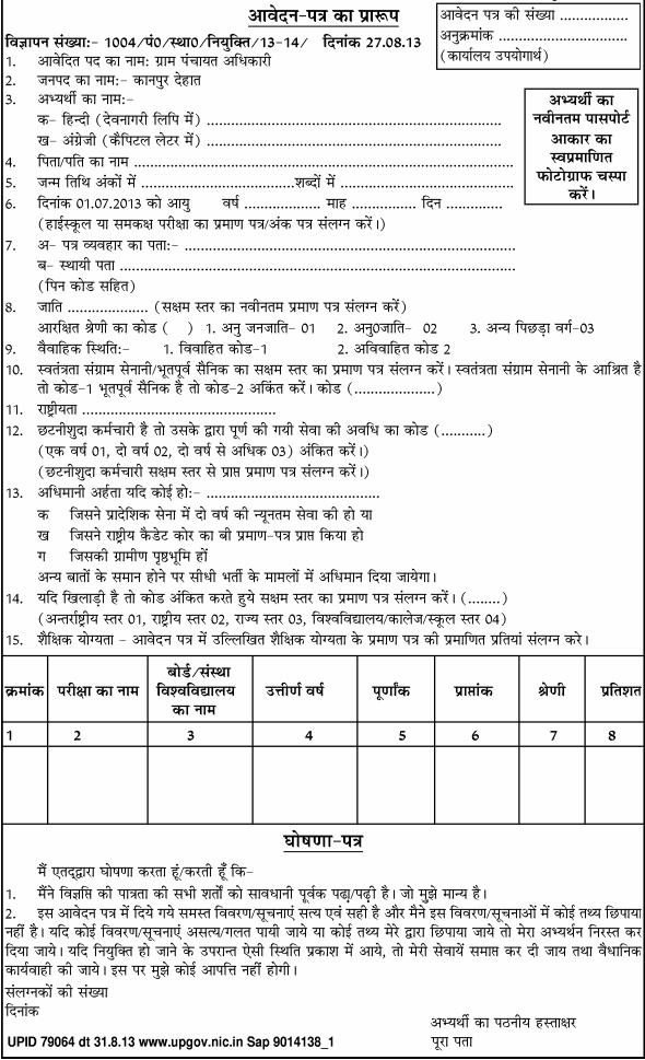 Gram panchayat Adhikari Recruitment for 61 posts 2013