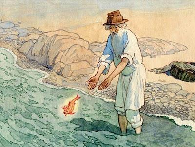 Εικονογράφηση για τον Ψαρά και τη Γυναίκα του από τον Boris Dekhteryov