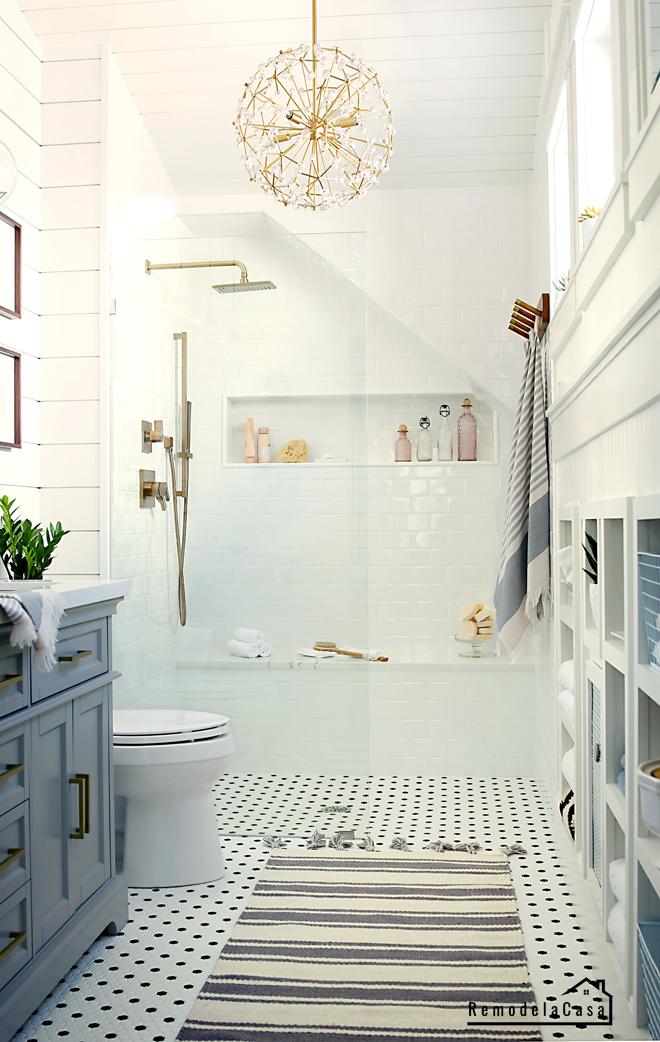 Bathroom makeover with cubby storage in walls
