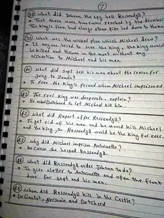 بالاجابات: أهم أسئلة سجين زندا في 7 ورقات 7