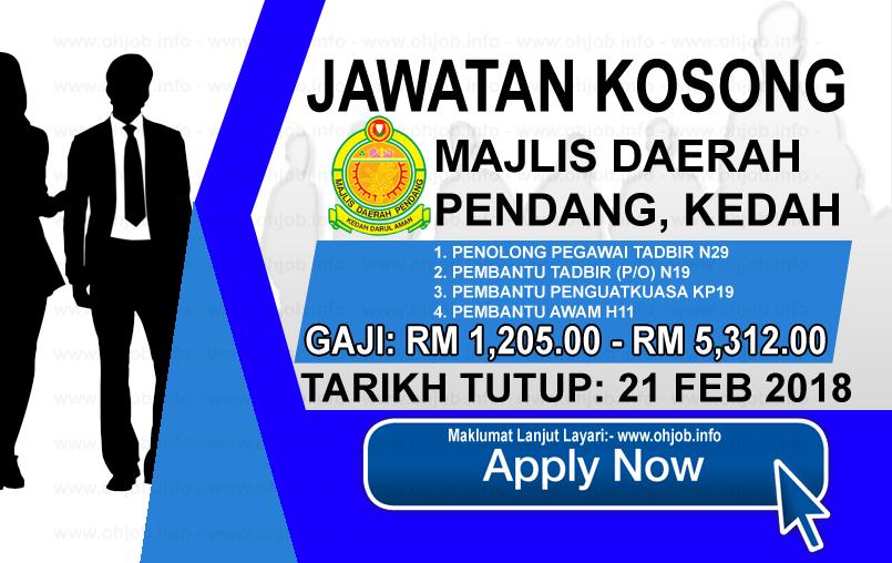 Jawatan Kerja Kosong Majlis Daerah Pendang - MDPendang logo www.ohjob.info februari 2018