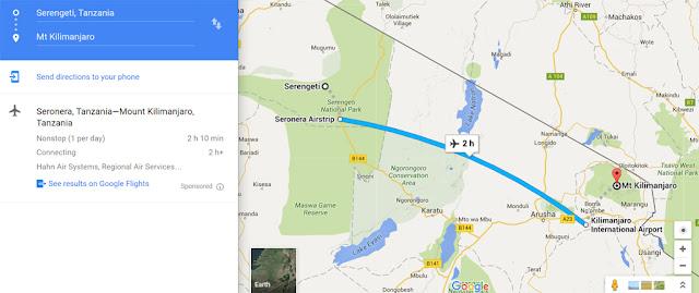https://www.google.com/maps/dir/Serengeti,+Mara,+Tanzania/Mt+Kilimanjaro,+Tanzania/@-2.8479674,34.8989978,8z/data=!4m14!4m13!1m5!1m1!1s0x182d3c0f19d25d51:0xb1201ea012c07175!2m2!1d34.6856509!2d-2.1539944!1m5!1m1!1s0x1839fc5a396ea805:0x8e741c478eea6c01!2m2!1d37.3556273!2d-3.0674247!3e2