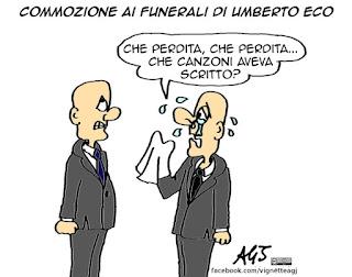 Umberto Eco, funerali, cultura, libri, vignetta satira