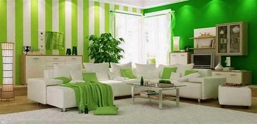 Contoh Desain Ruang Tamu Dengan Kombinasi Warna Cat Hijau Dan Putih