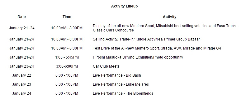We Love Mitsubishi Family Expo Schedule of Activities