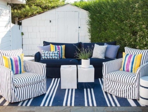 Navy Stripe Design Idea for Outdoor Living