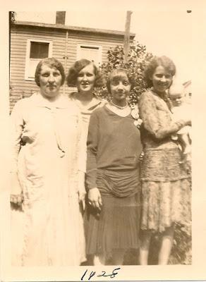 Alice (Rimkus) Karvoius, Sophie (Karvoius) Dixon, a friend, Estelle Karvoius. Elizabeth, NJ. 1928.