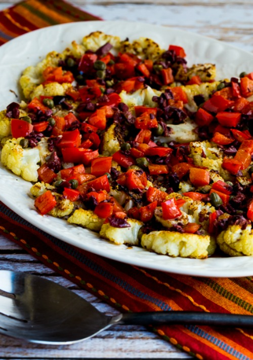 Roasted Cauliflower Slices with Red Pepper, Capers, and Lemon found on KalynsKitchen.com