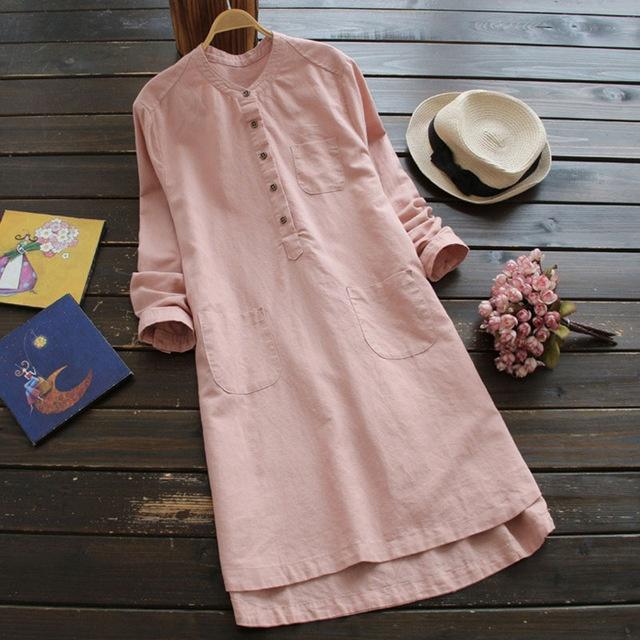 Linen Dress Mandarin Neck Pockets Buttons Mini Vestido Casual Shirt Dress Plus Size