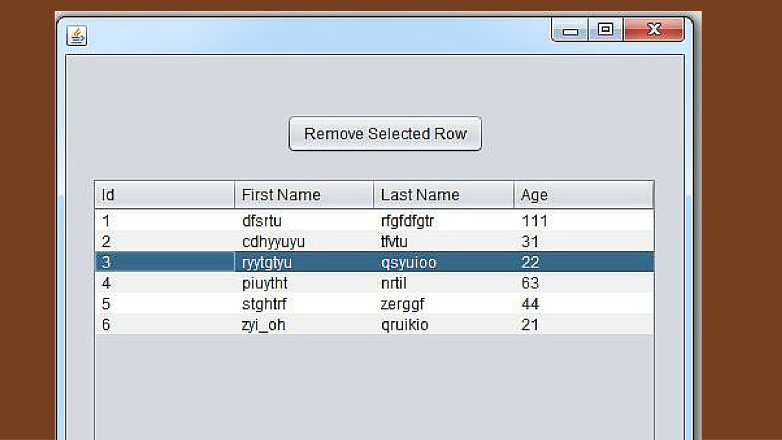 Java how to remove a selected row from jtable in java for Design table java swing