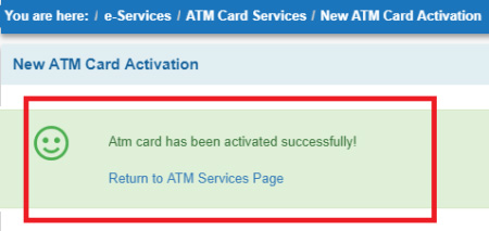 how to activate sbi atm card through net banking