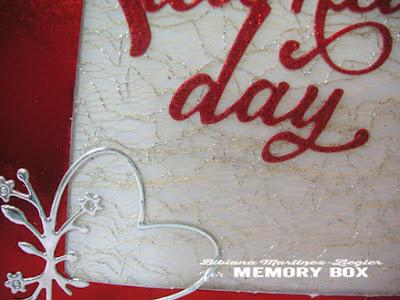 Valentines in red card detail corner heart