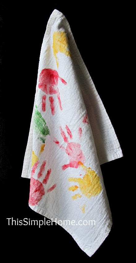 This Simple Home: Hand Print Towel {Mother's Day Gift}