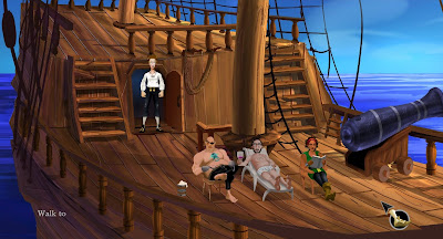 video game - The Secret of Monkey Island - Guybrush and his crew aboard The Sea Monkey