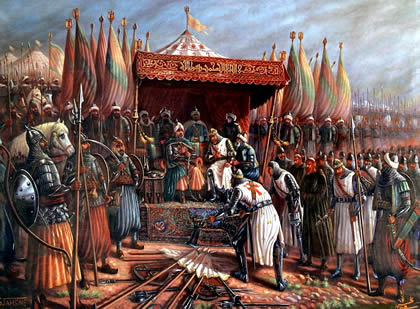Saladin after win a major military victory at the Battle of the Horns of Hattin