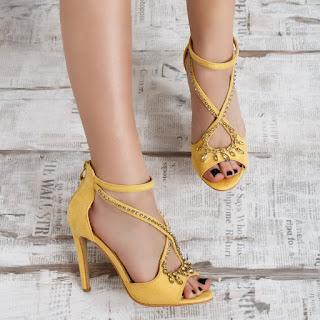 Sandale Firona galbene cu toc elegante de ocazii