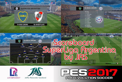 PES 2017 Scoreboard Superliga Argentina 2018 by JAS