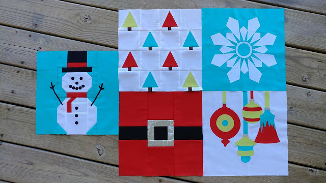 Blocks 1-5 of I Wish You a Merry Quilt Along