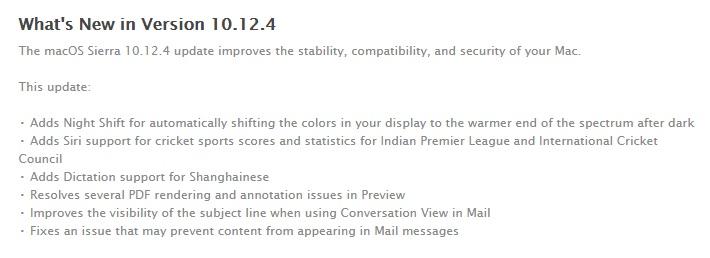 macOS Sierra 10.12.4 Features