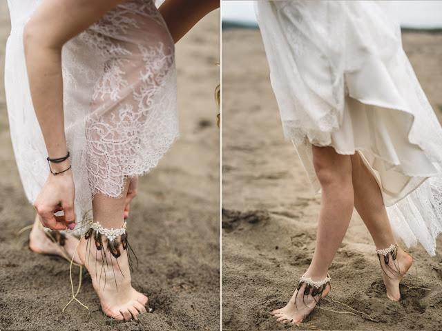 Bransoletki ślubne na stopy w stylu boho chic, PiLLow Design