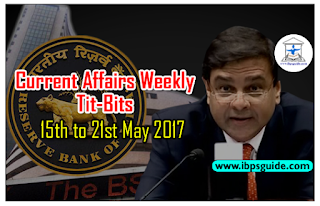 Important Weekly Current Affairs Revision Tit-Bits (15th to 21st May 2017) - Download-in-PDF