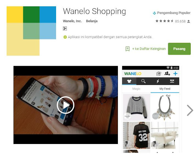 Wanelo app for android applications.