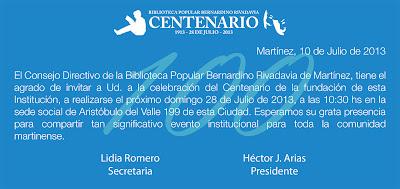 Invitación al festejo por los 100 años de la Biblioteca de Martínez