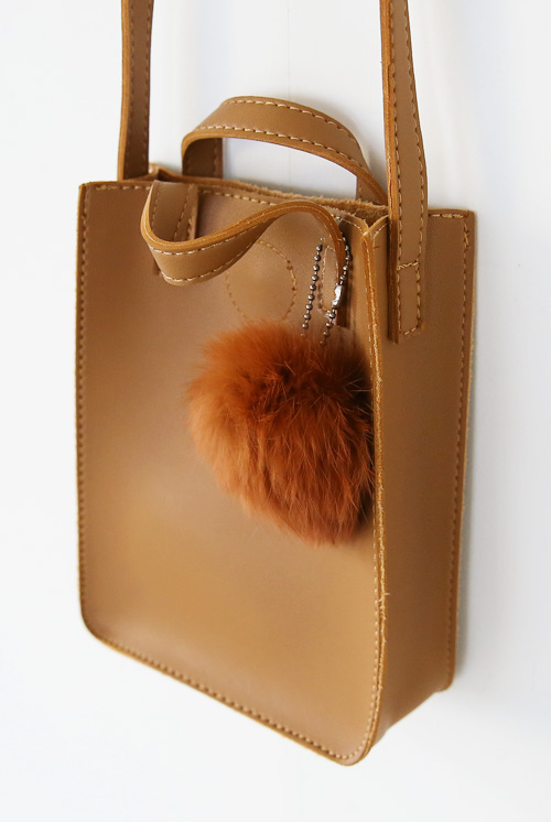 Pom-Pom Pleather Shoulder Bag