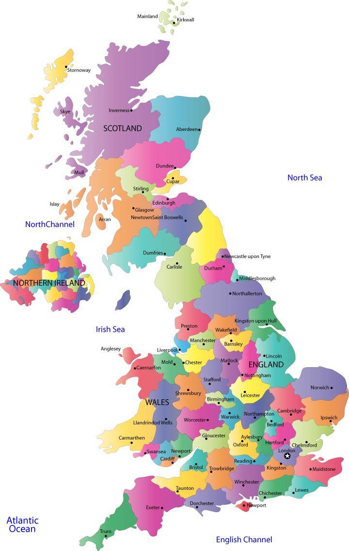 Kort Over Europa Billede Kort Over Storbritannien Land