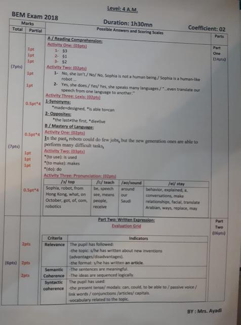 تصحيح موضوع اللغة الانجليزية لشهادة التعليم المتوسط 2018 bem