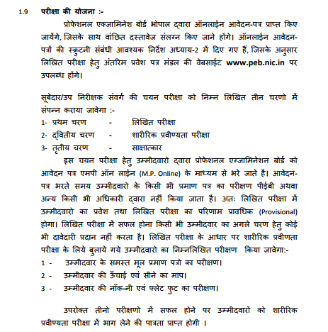 MP Police Written Exam Pattern