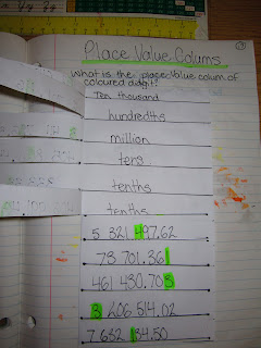 photo of place value math journal entry @ Runde's Room