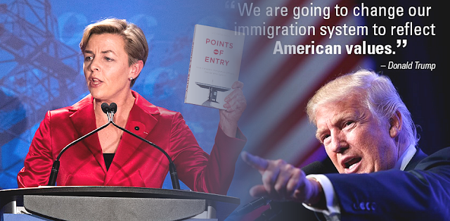 A photomontage of Kellie Leitch and President Donald Trump