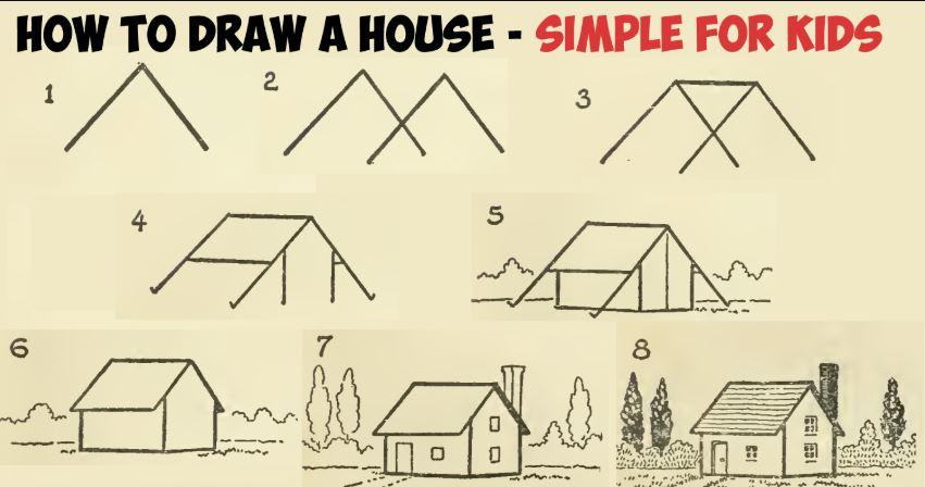 رسم بيت بالرصاص خطوة بخطوة