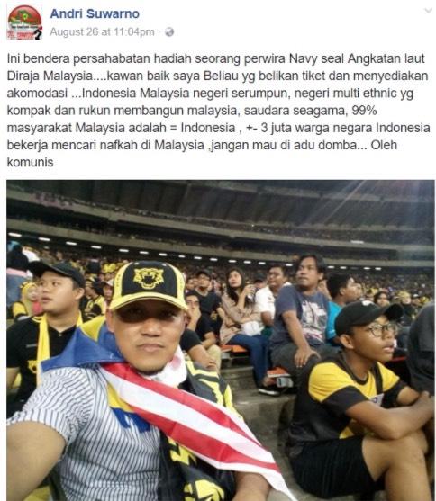 Andri Suwarno Penyokong Indonesia Menyamar Jadi Penyokong Malaysia