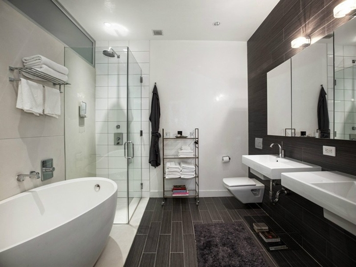 Bathroom in small apartment in New York by Rick Joy