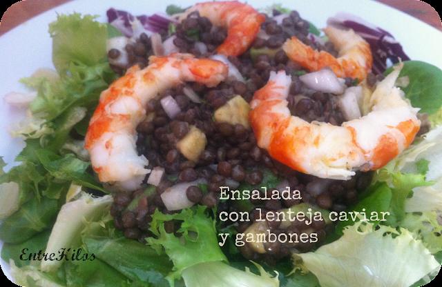 ensalada de lentejas caviar y gambones