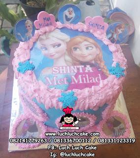 Kue Tart Edible Foto Frozen Elsa dan Anna
