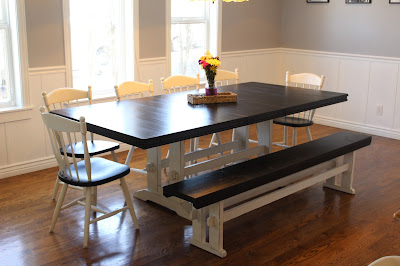10 person two-toned farmhouse table refinish after