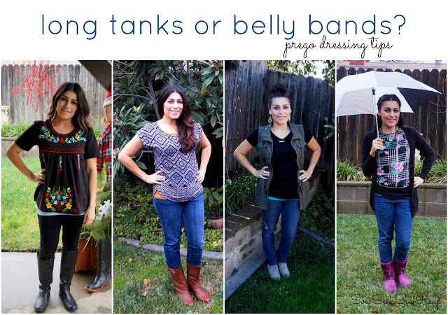non maternity and maternity for pregnancy, long tanks instead of belly bands, prego dressing tips